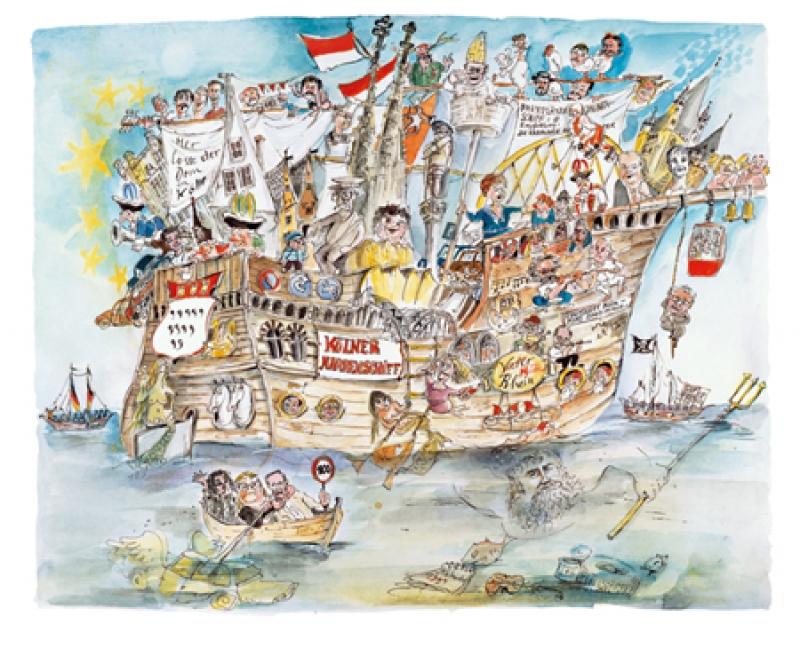 Narrenschiff auf Künstlerleinwand