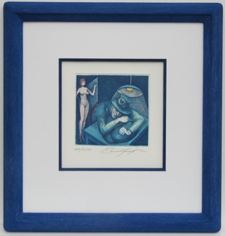 Ernst Fuchs blauer Steinrahmen