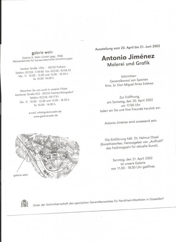 Einladung Antonio Jimenez Galerie Wehr