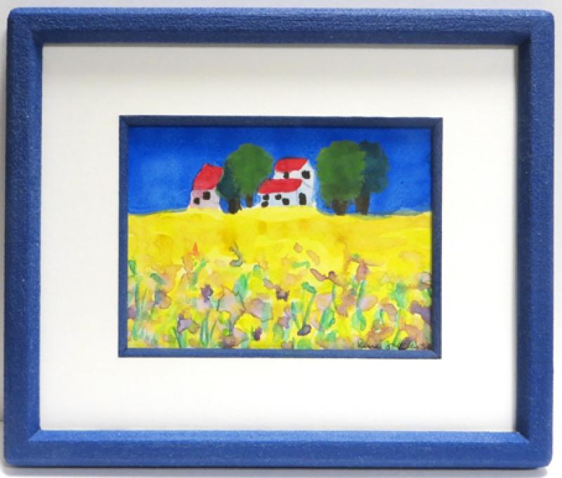 Kinderbild im blauen Steinrahmen