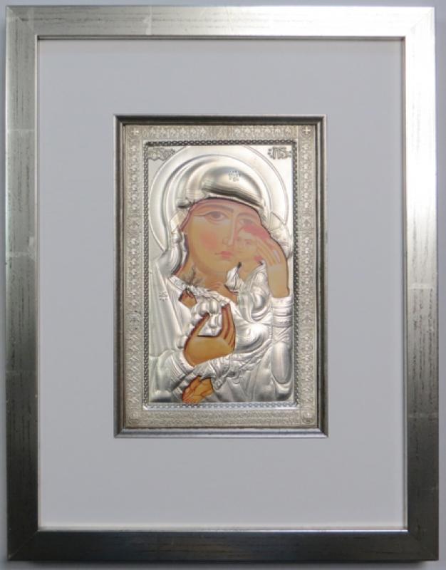 Mutter Gottes Ikonenrahmung silber