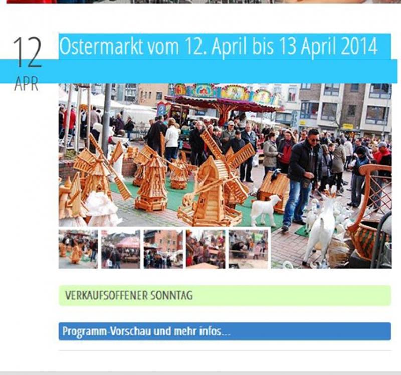 Ostermarkt 12. bis13.4 Pulheim Verkaufsoffener Sonntag