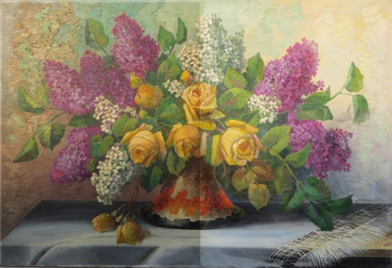 Blumenstrauß zur Hälfte gereinigt