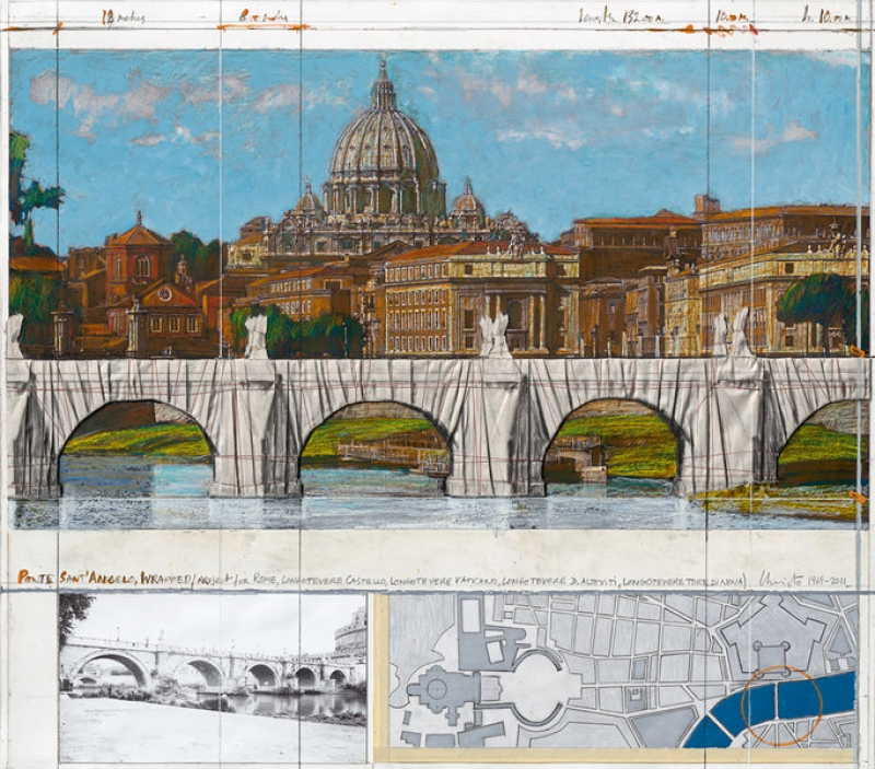 Christo - Ponte Sant Angelo, Wrapped, Project for Rome 1969 –; 2011