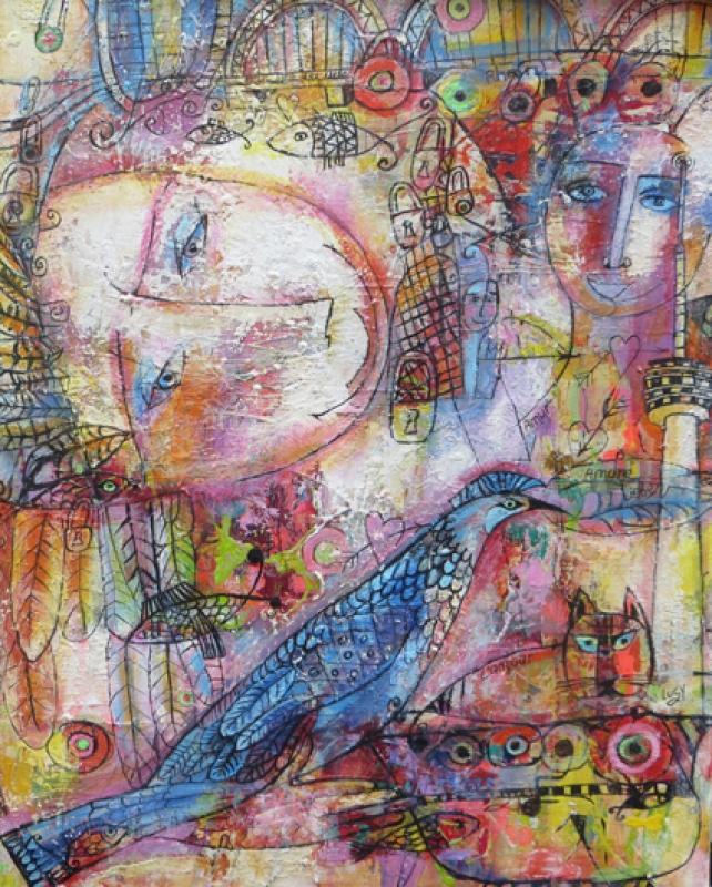 Luci Shatalov Engel mit dem Vogel des Glücks