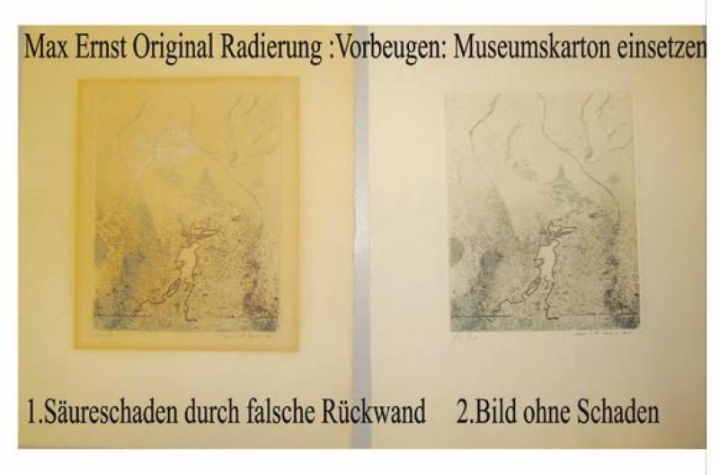 Papierrestaurierung ,Säureschaden Max Ernst