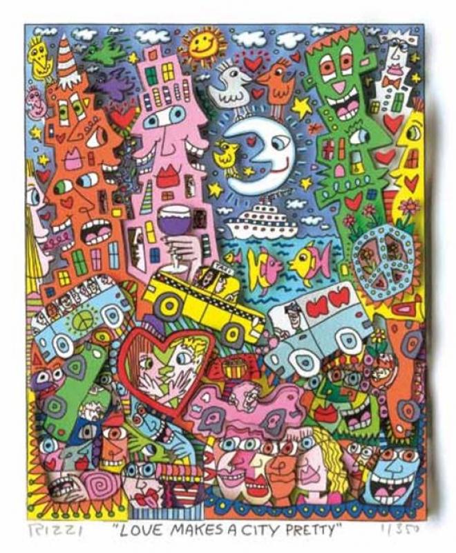 """James Rizzi RIZZI10277 """"LOVE MAKES A CITY PRETTY"""" 20 x 16 cm"""