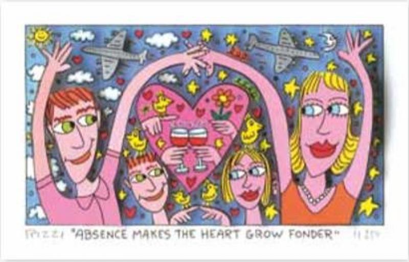 "James Rizzi RIZZI10276 ""ABSENCE MAKES THE HEART GROW FONDER"" 9 x 16 cm"
