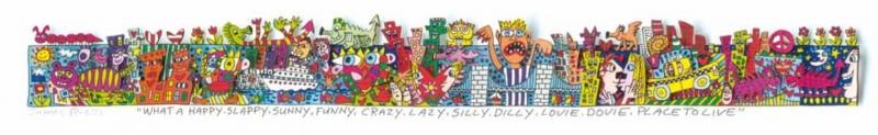 """James Rizzi RIZZI10268 """"WHAT A HAPPY, SLAPPY, SUNNY, FUNNY, CRAZY, LAZY, SILLY, DILLY, LOVIE, DOVIE, PLACE TO LIVE"""" 5,1 x 45,1 cm"""
