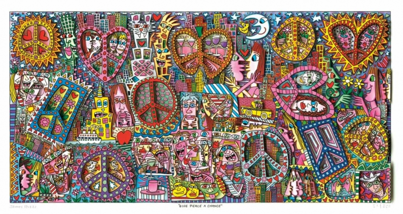 "James Rizzi RIZZI10269 ""GIVE PEACE A CHANCE"" 41 x 81,5 cm"