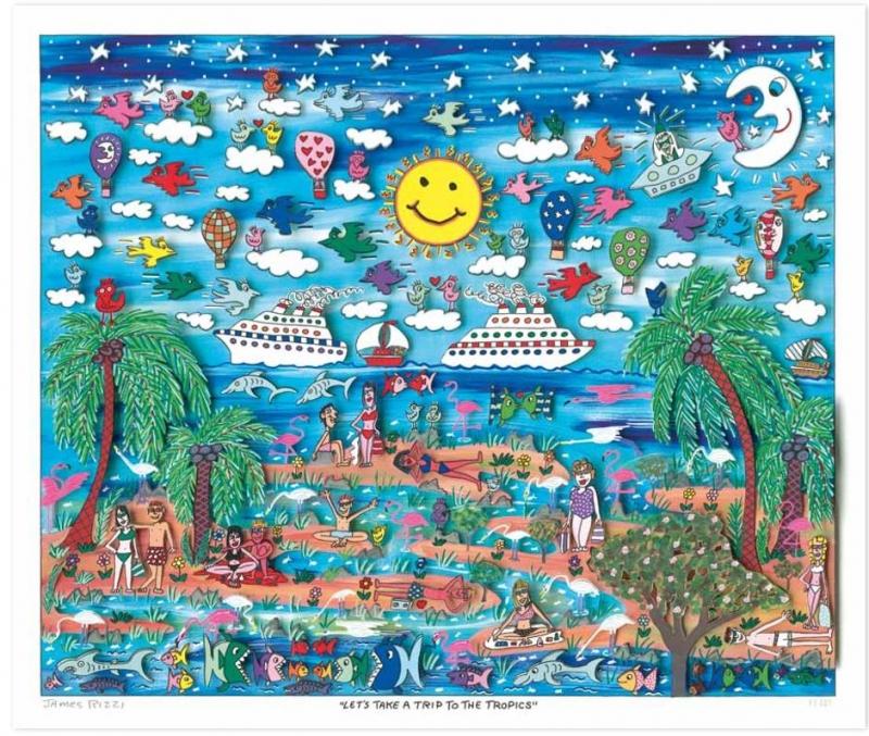 """James Rizzi RIZZI10213 """"LET′S TAKE A TRIP TO THE TROPICS"""" 41 x 49 cm"""