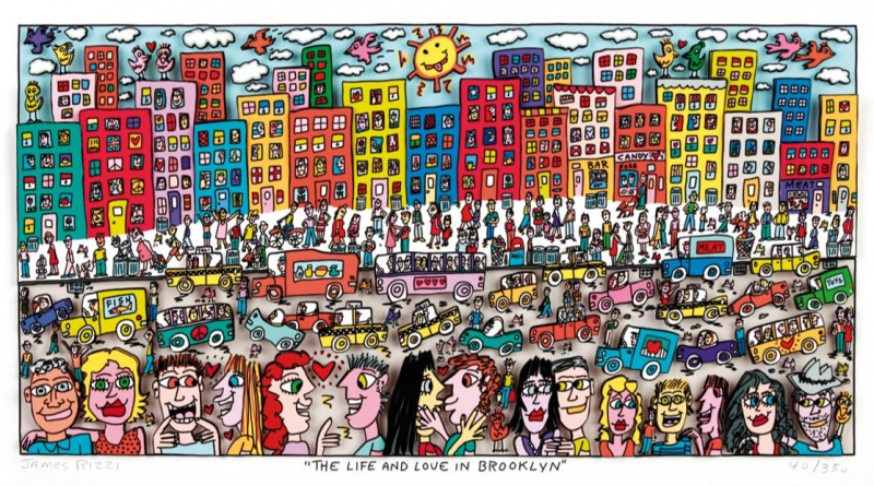 "James Rizzi RIZZI10200 ""THE LIFE AND LOVE IN BROOKLYN"" 18,7 x 37,5 cm"