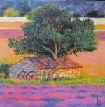 Herbst Lavendel und Baum