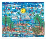 James Rizzi RIZZI10213 �LET�S TAKE A TRIP TO THE TROPICS� 41 x 49 cm