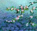 Apfelbaumblüte und Vergissmeinnicht